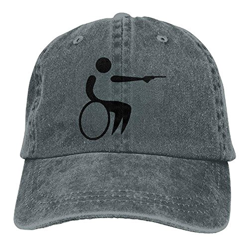 Denim Sport Hat Hats DEFFWB Wheelchair Cowgirl Handicap for Cap Skull Gun Cowboy Men Women waIIFq