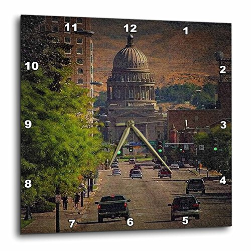 3dRose dpp_26360_1 State Capital in Boise Wall Clock, 10 by (Boise State Desk Clock)