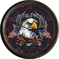 American Eagle Wall Clock Hanging Round Mounted US Patriotic Motorcycle Decor Rustic Old Fashioned Time Home Kitchen Birthday