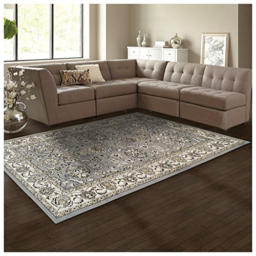 Rug Flor Collection (Superior Elegant Lille Collection Area Rug, 8mm Pile Height with Jute Backing, Beautiful Chic Bordered Rug Design, Anti-Static, Water-Repellent Rugs - Cream, 4' x 6' Rug)