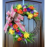 Monogram-Letter-Wreath-for-Front-Door-in-22-inch-Diameter-with-Spring-and-Summer-Flowers-in-Yellow-Purple-Red-and-Orange-With-or-Without-Matching-Bow