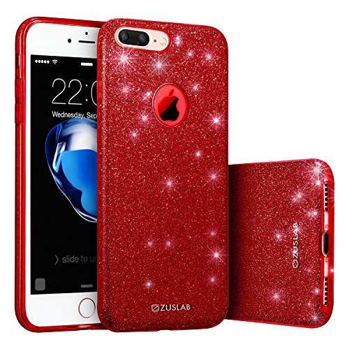 ZUSLAB iPhone 7 Plus Case, [Rosy Sparkle] Bling Luxury Glitter Cover, Dual Layer Fashion Protective Soft Rubber Flexible Ultra Light Slim Case for Apple iPhone 7 Plus (Red)