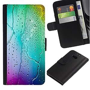 Ihec-Tech / Flip PU Cuero Cover Case para HTC One M8 - Neon Colors Rain Glass