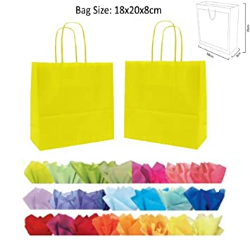 X 10 YELLOW GIFT BAGS WITH MATCHING TISSUE PAPER