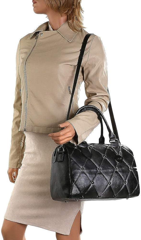 Ital-Design Sac à main en cuir synthétique pour femme Noir