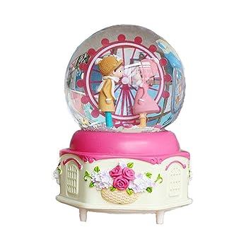 SPFAZJ Caja Musical de Navidad # 100 luz de Color de Rueda de la Fortuna Bola de Cristal Caja de música Nieve cumpleaños Regalo Amante Enviar Novia: ...