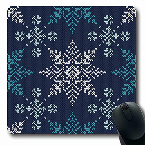 Ahawoso Mousepads for Computers Jacquard Blue Knit Winter Holiday Knitted Pattern Jumper Snowflakes Fair Isle Fairisle Christmas Oblong Shape 7.9 x 9.5 Inches Non-Slip Oblong Gaming Mouse Pad