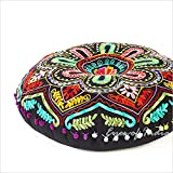 Eyes of India - 24'' Black Embroidered Decorative Floor Meditation Pillow Cushion Seating Throw Cover Indian Boho Bohemian