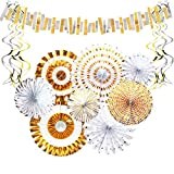 Aonor Gold Party Decorations - Sparkly Paper Fan Flowers Hanging Banner, Party Swirls, Paper Garland Bunting for Baby Shower Backdrop, Birthday Party Wall Decorations
