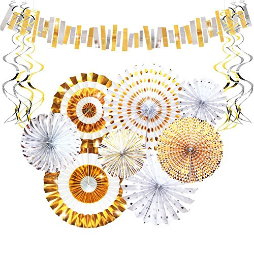 Aonor Gold Party Decorations - Sparkly Paper Fan Flowers Hanging Banner, Party Swirls, Paper Garland Bunting for Baby Shower Backdrop, Birthday Party Wall Decorations by Aonor