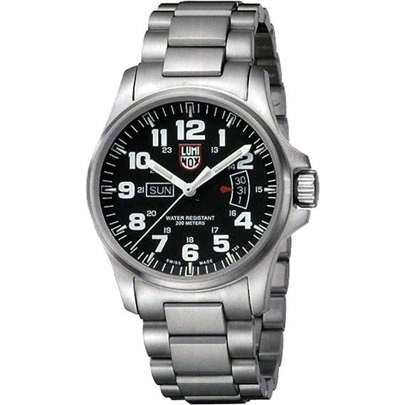 Luminox LU1822 - Reloj analógico de caballero de cuarzo con correa de acero inoxidable plateada - sumergible a 200 metros: Amazon.es: Relojes