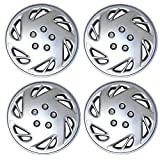 TuningPros WSC3-054S15 4pcs Set Snap-On Type (Pop-On) 15-Inches Metallic Silver Hubcaps Wheel Cover