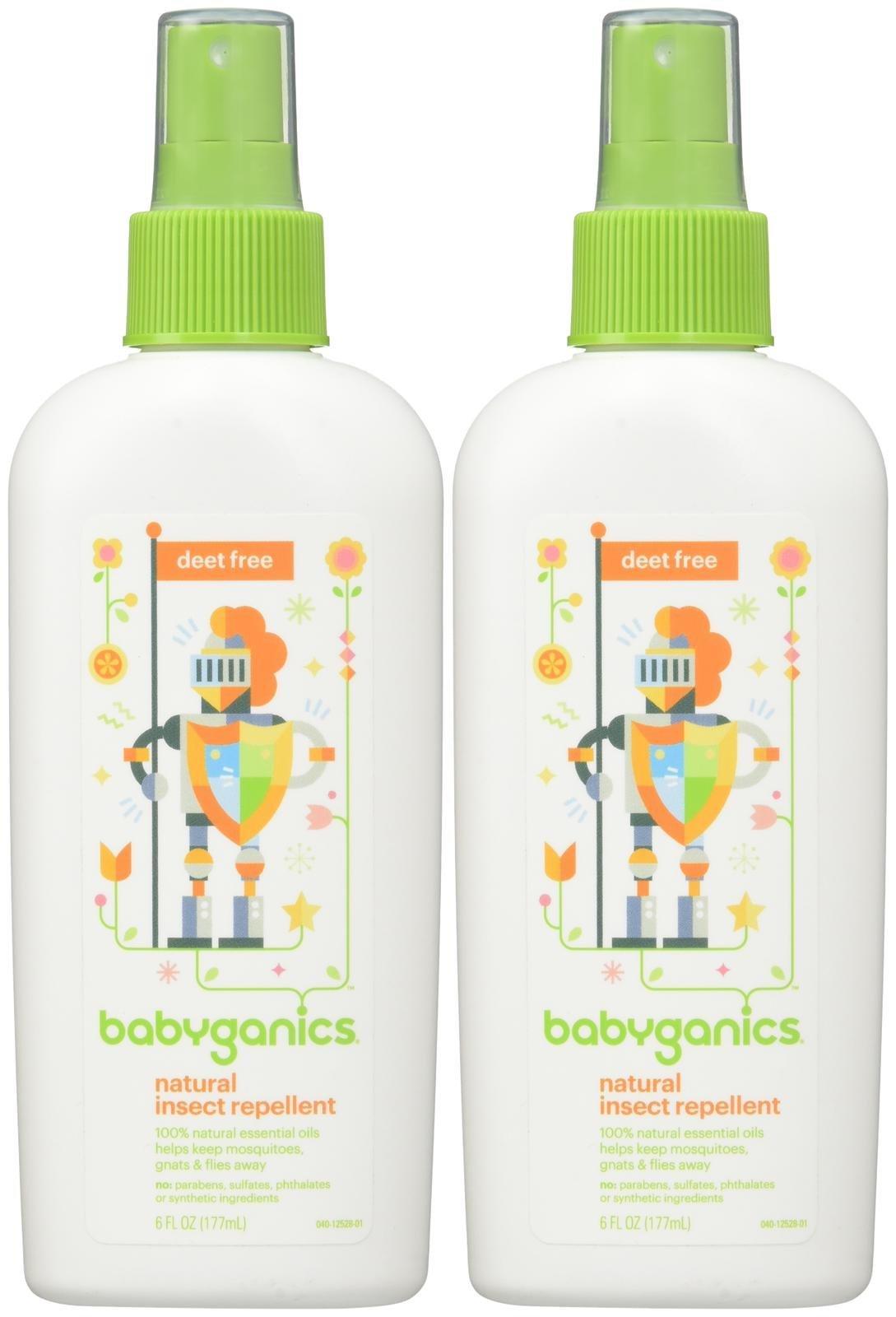Babyganics Natural Deet Free Insect Repellent - Fragrance Free - 6 oz - 2 pk