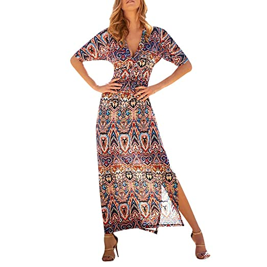 17dddaaa233 Usstore Women Bohemia Maxi Dress Summer Fashion Casual High Waist Deep V-Neck  National Style