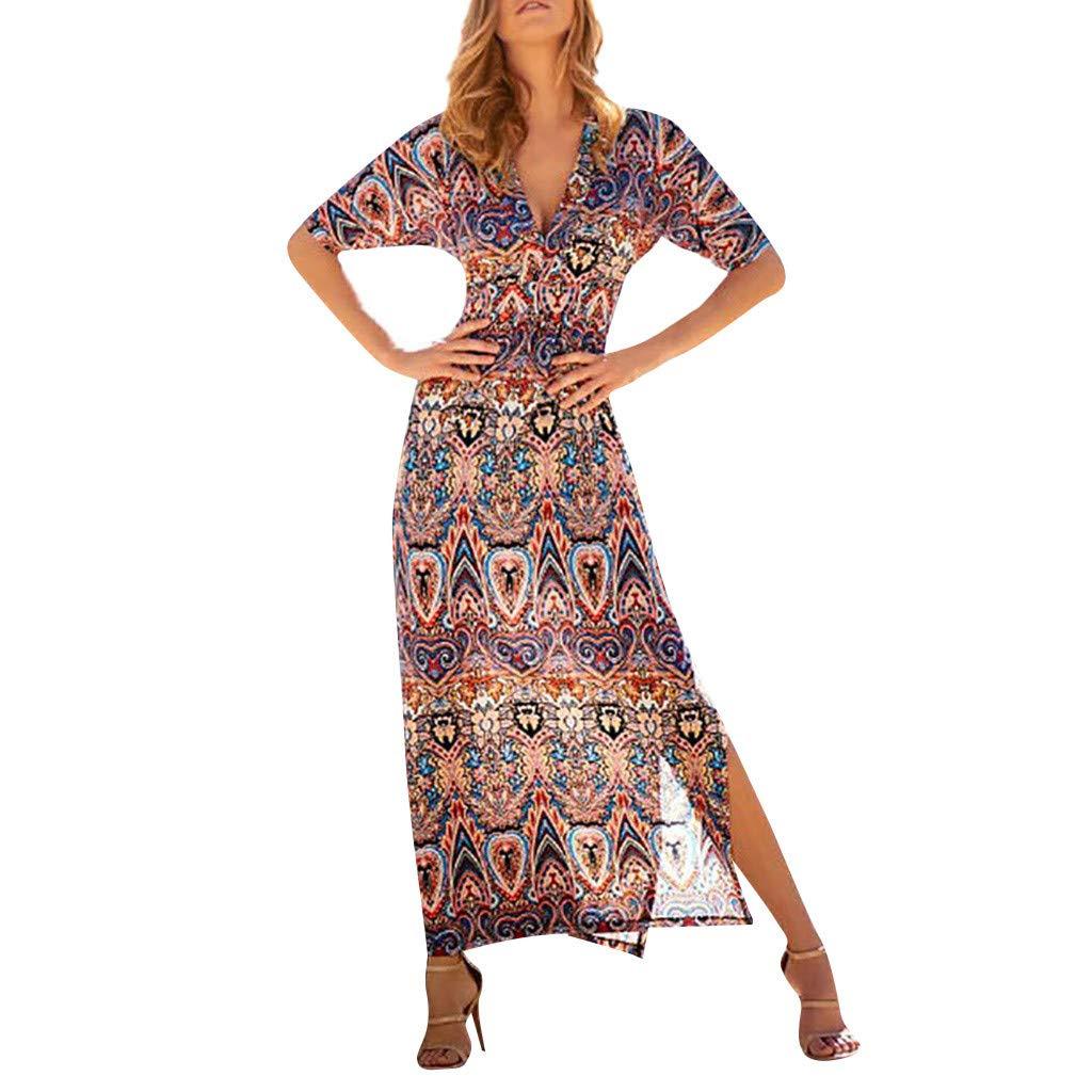 Reokoou Women's V-Neck Bohemian Print Dress Maxi Dress Red