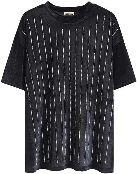 O&YQ Camiseta Base Negra Hembra Coreana Suelta Medio Largo Color Sólido Cuello Redondo Camisa de Manga Corta, Negro, Metro: Amazon.es: Deportes y aire libre