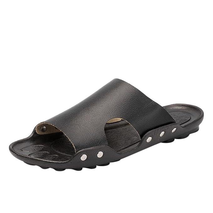 Mens Slide SandalBreathable Casual Daily Flat Sandal Beach Home Slider Slipper Slip-resistant