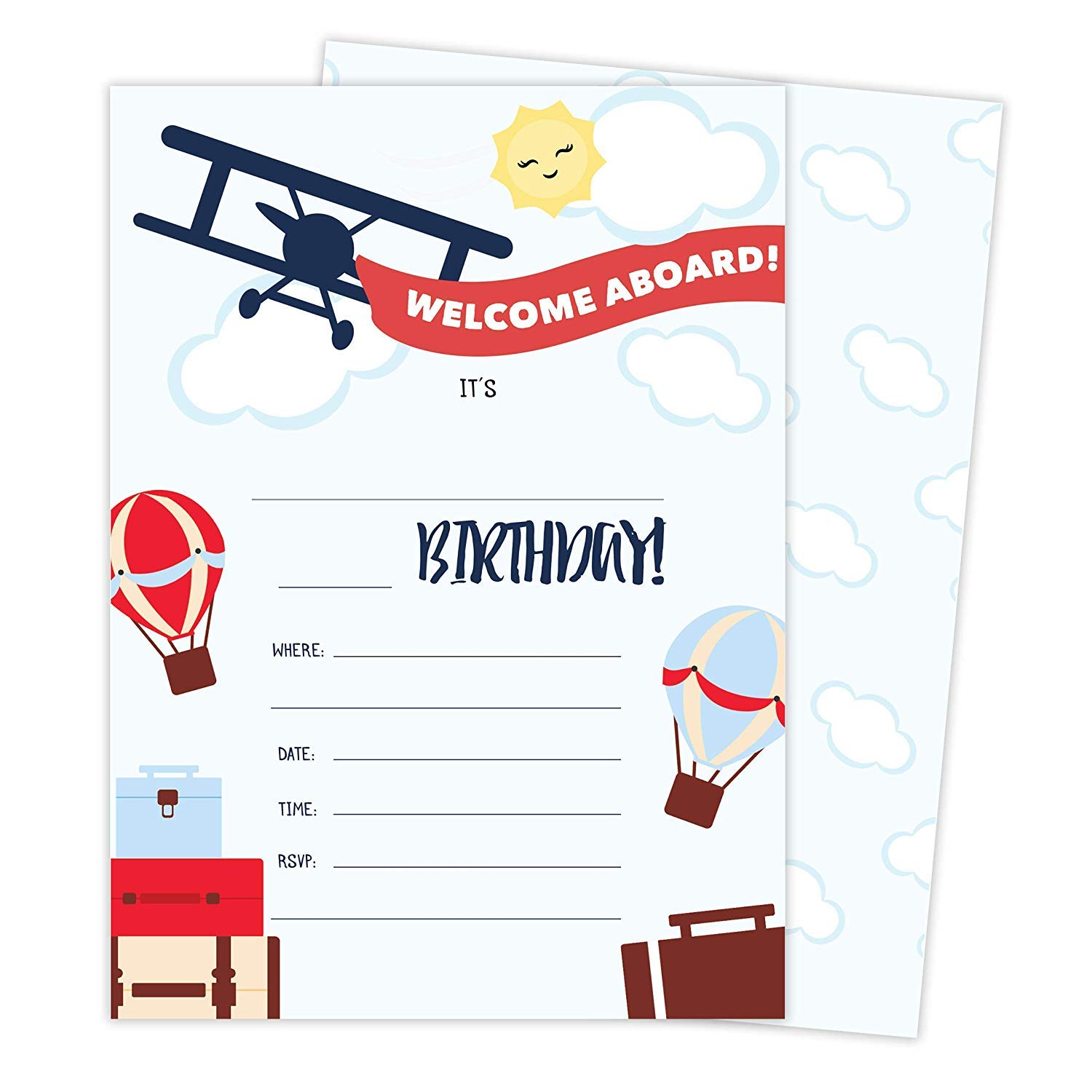 Airplane #1-25 Invitations & 25 Thank You Cards Combo Pack Happy Birthday Invite Cards With Envelopes & Seal Stickers Boys Girls Kids Party (Combo Pack) by Desert Cactus (Image #1)