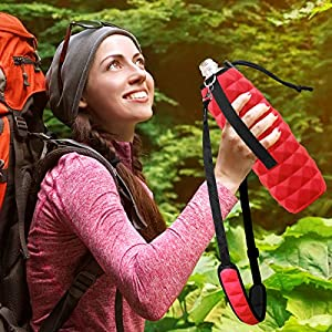Water Bottle Holder with Extra Padded Shoulder Strap Super Soft Insulated Bottle Carrier To Protect Flasks Double Sided Use Reversible Case 25 oz Snug Fit Sleeve for Walking Hiking Bike By MetricUSA