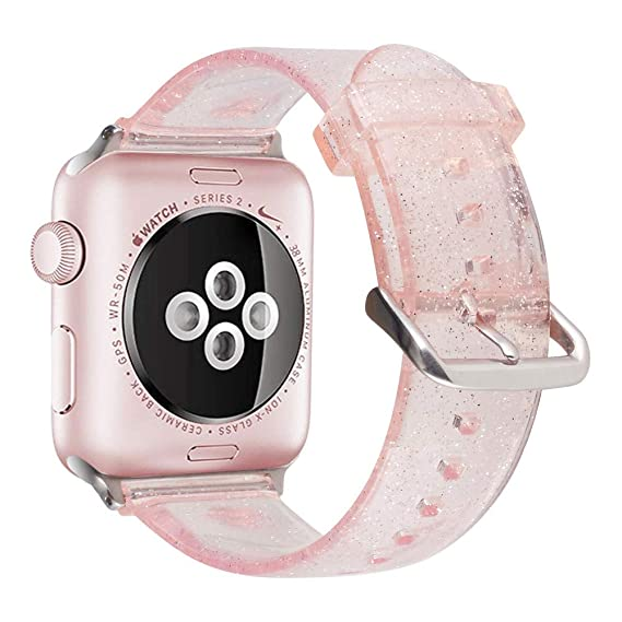 huge discount b1b81 4e082 iiteeology Compatible for Apple Watch Band 38mm 40mm, Women Glitter Soft  TPU Sports iWatch Band Strap for Apple Watch Series 4/3/2/1 (38mm 40mm ...
