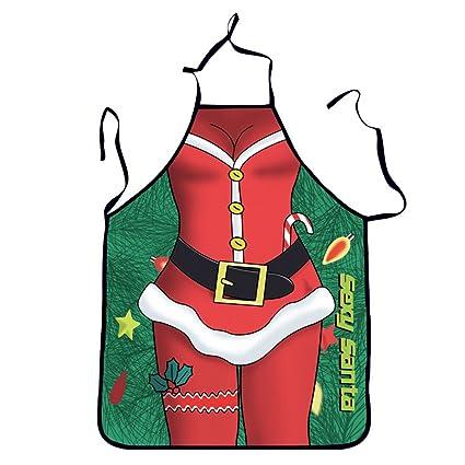 Regali Di Natale Cucina.Oulii Divertente Cucina Stampato Grembiule Natale Santa Cervo Gatto