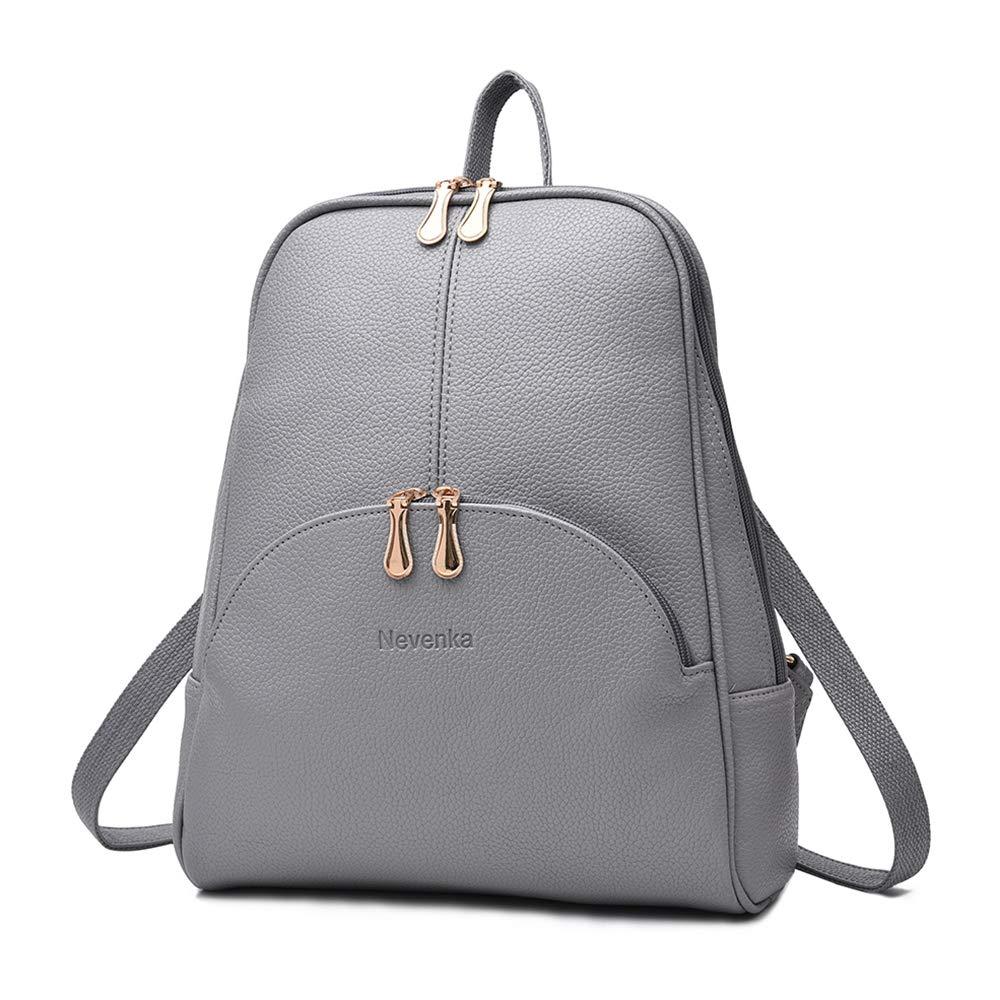 Nevenka Brand Women Bags Backpack PU Leather Zipper Bags Purse Casual Backpacks Shoulder Bags (GRAY) by Nevenka