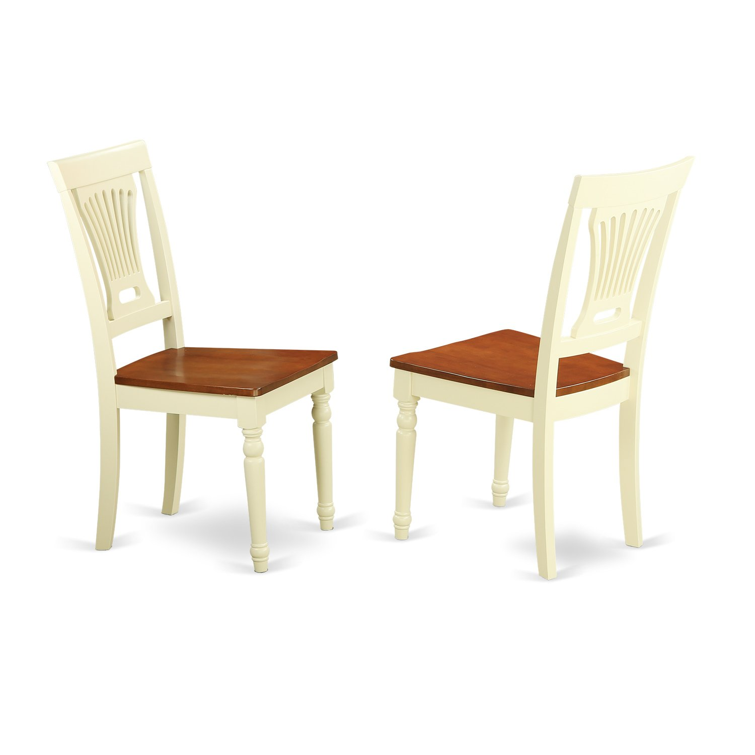East West Furniture PVC-WHI-W Kitchen/Dining Chair Set Wood Seat, Buttermilk/Cherry Finish, Set of 2 by East West Furniture