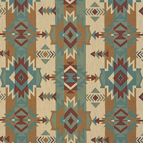 - J9600F Natural Striped Geometric Southwest Woven Decorative Novelty Upholstery Fabric by The Yard