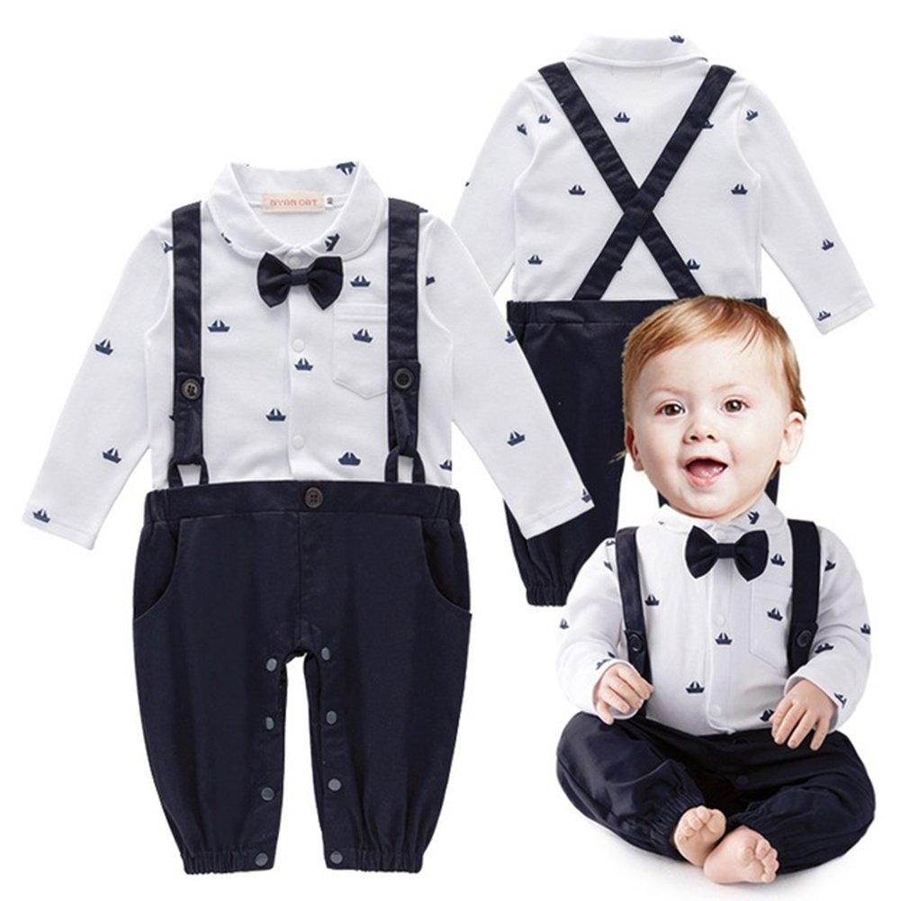 Baby Jungen Bodysuit Tuxedo Gentleman Kurzarm Strampler mit Hosenträger und Bowknot 1pc