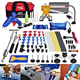 FLY5D 74 Pcs Car Body Paintless Repair Removal Tools Automotive Door Ding Dent Silde Hammer Glue Puller Repair Starter Set Kits For Car Hail Damage And Door Dings Repair