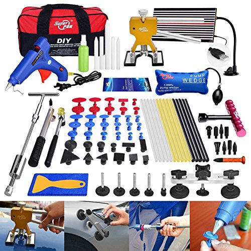 FLY5D 74 Pcs Car Body Paintless Repair Removal Tools Automotive Door Ding Dent Silde Hammer Glue Puller Repair Starter Set Kits For Car Hail Damage And Door Dings Repair (Starter Repair)
