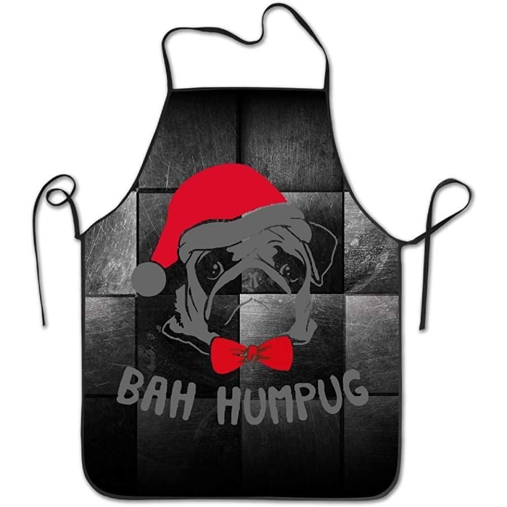 starobosエプロンクリスマスサンタの帽子Pugsよだれかけエプロン大人用レディースユニセックス耐久性快適な洗濯可能for Cooking Bakingキッチンレストラン   B07F7BSGHW