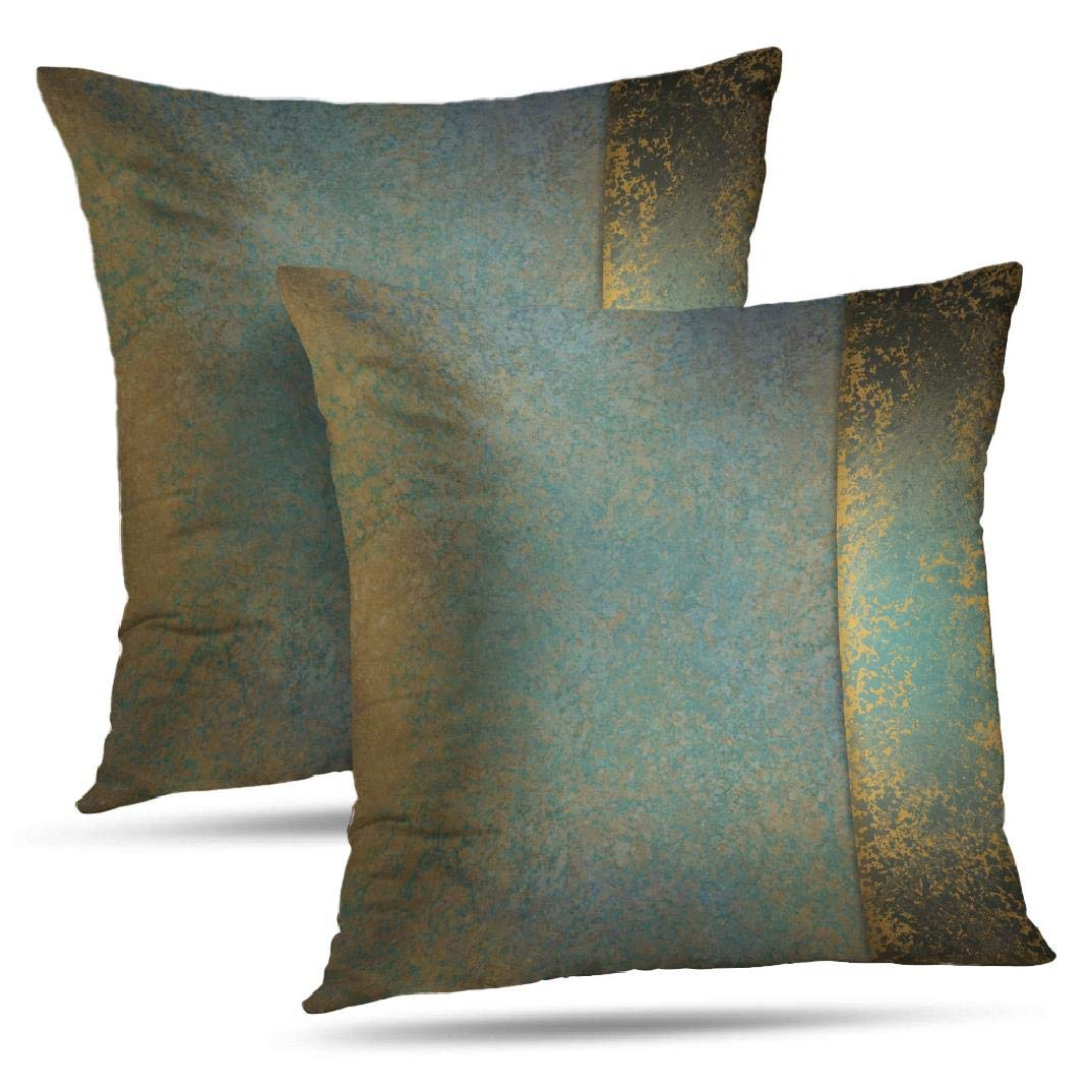 Wayato Set Of 2 Pillow Case Cotton Polyester Blend Throw Pillow Covers Serene Teal Blue Gold Brown Bed Home Decor Cushion Cover 18 X 18 Inch Buy Online In Faroe Islands At