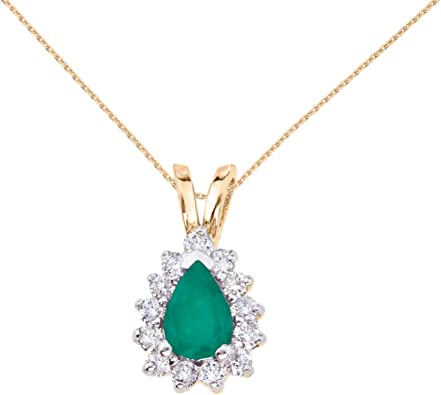 14K Yellow Gold Pear Shaped Emerald /& Diamond Pendant