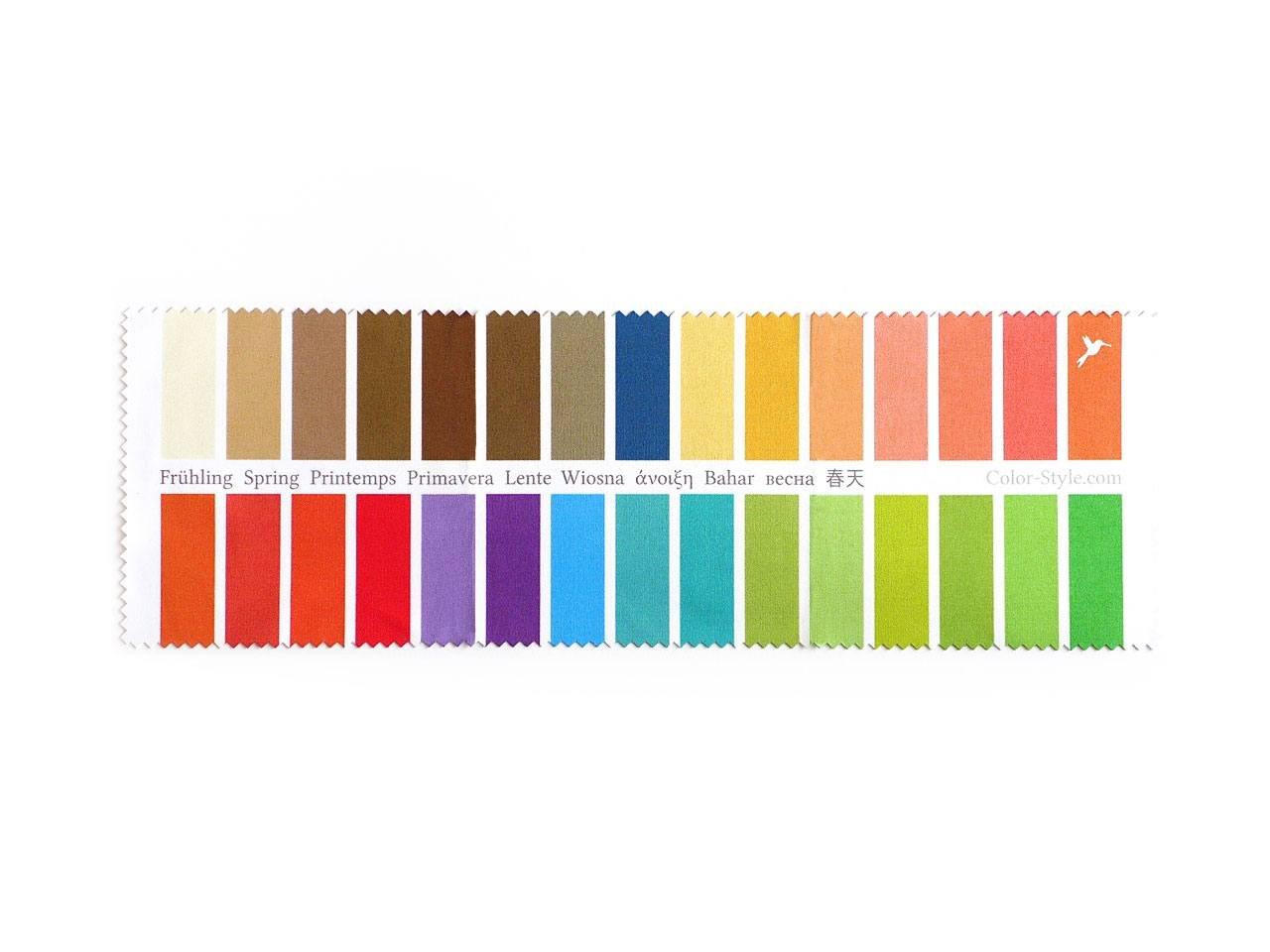 Palette in tessuto con 30 colori per tipo primavera calda (Warm Spring) per analisi e consulenza relative al colore e consulenza di stile Kolibri Image GbR P98