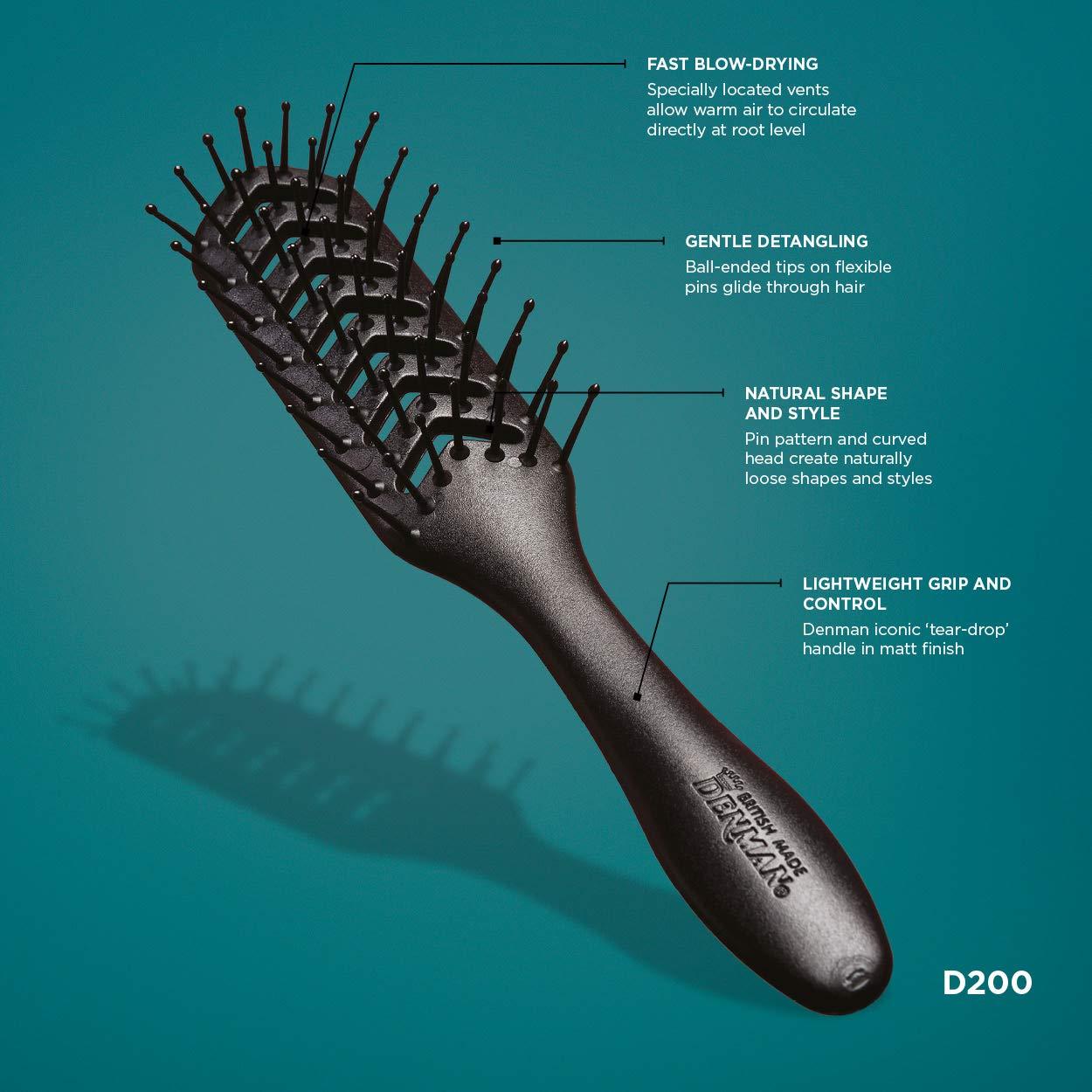 Denman D200 Vent Hair Brush with Flexible Pins Denman International Ltd F200TBOB