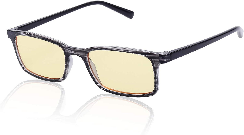 Avoalre Gafas Anti Luz Azul para Ordenador Amarillo Gafas Cuadradas Unisexo Ligeras para Hombre y Mujer de Oficina, Antifatiga y Protección de Vista Cansada para Pantalla, Móvil - Marco Negro