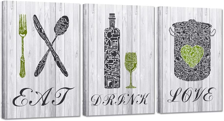 ZingArts 3 Pieces Kitchen Art Print Set Eat Drink Love Inspirational Quote Sign Rustic Wood Print Poster on Canvas Stretched and Framed For Modern Home Dining Room Decor Ready To Hang 16x24inchx3pcs