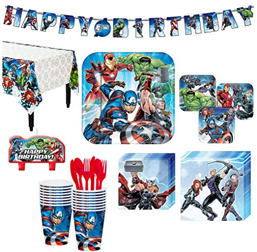 Avengers Superhero Birthday Party Kit, Includes Happy Birthday Banner and Birthday Candles, Serves 16, by Party City
