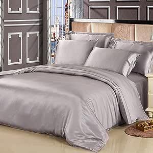 LilySilk 4Pcs Silk Sheets Queen Bedding Set Flat Sheet Fitted Sheet Oxford Pillowcases Set 19 Momme Silk Silvergray Queen