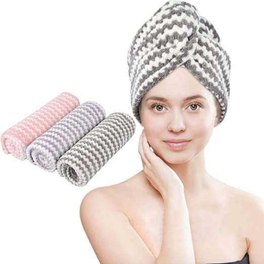 Shower VIVOTE Microfibre Hair Towel Turban Hair Fast Drying Wrap Women Girls Gift 25 x 65 CM Super Absorbent Lightweight 3 Pack Soft Long Hair Dry Cap Anti Frizz