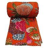 ARTNCRAFT Floral Print Decorative Kantha Stitch Quilt Pure Cotton Reversible Bedspread Orange Gudri Queen Size Bedspread
