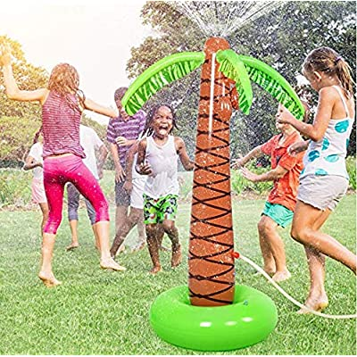 Ganenn Sprinkler Pad & Splash Play Mat for Kids - Summer Outdoor Water-Filled Play Mat, Inflatable Palm Tree Yard Sprinkler Toy,Kids Spray Water Toy Outdoor Party 61