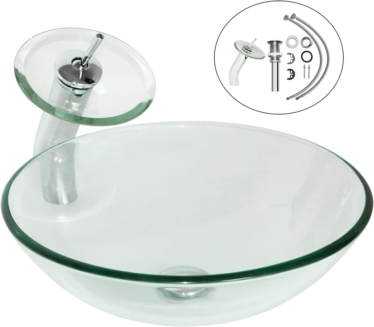 Walcut Cleared Tempered Glass Vessel Bathroom Vanity Sink Round Bowl, Waterfall Faucet Pop-up Drain Combo, Frosted Color