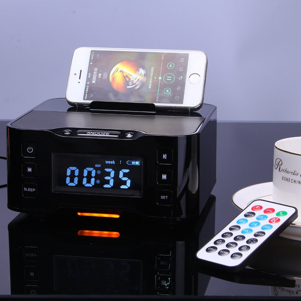 A9 NFC Bluetooth docking speaker Supported Radio Alarm Clock for Apple/Samsung/LG Phones & tablets(black)