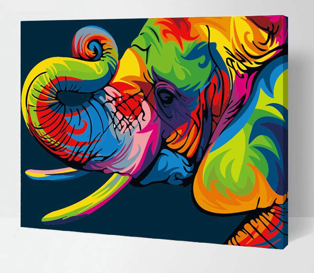 iFymei Paint by Number Kits Paintworks Acrylic DIY Oil Painting for Kids and Adults Beginner Animals Canvas ( Elephants )