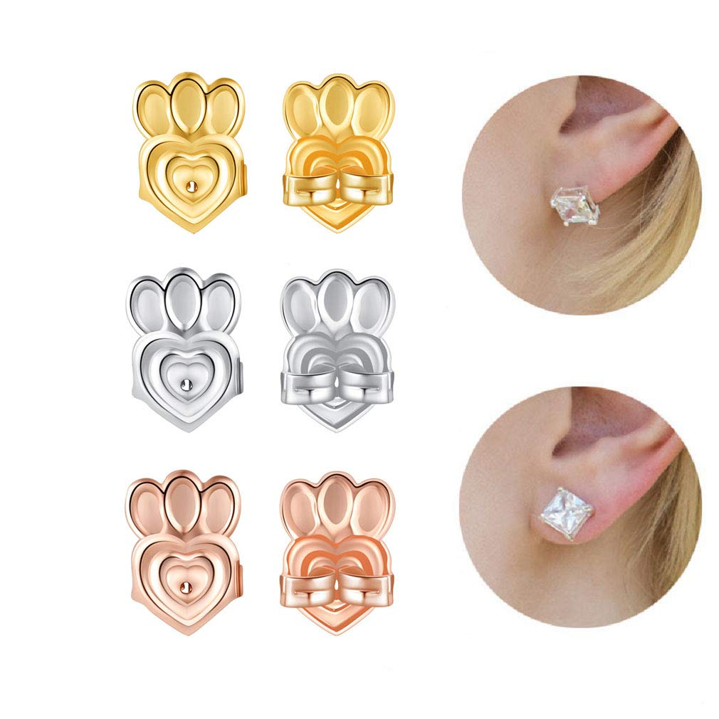 3 Pairs Earring Lifts Backs Post-Style Earrings Support for Drooping Earrings, Hypoallergenic and Adjustable, Great for Lifting Heavy Earrings(Gold, Silver and Rose Gold) BONANA