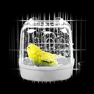 DSstyles Pet Hanging Water Bath Tub for Small Bird Parrots Cage Yellow