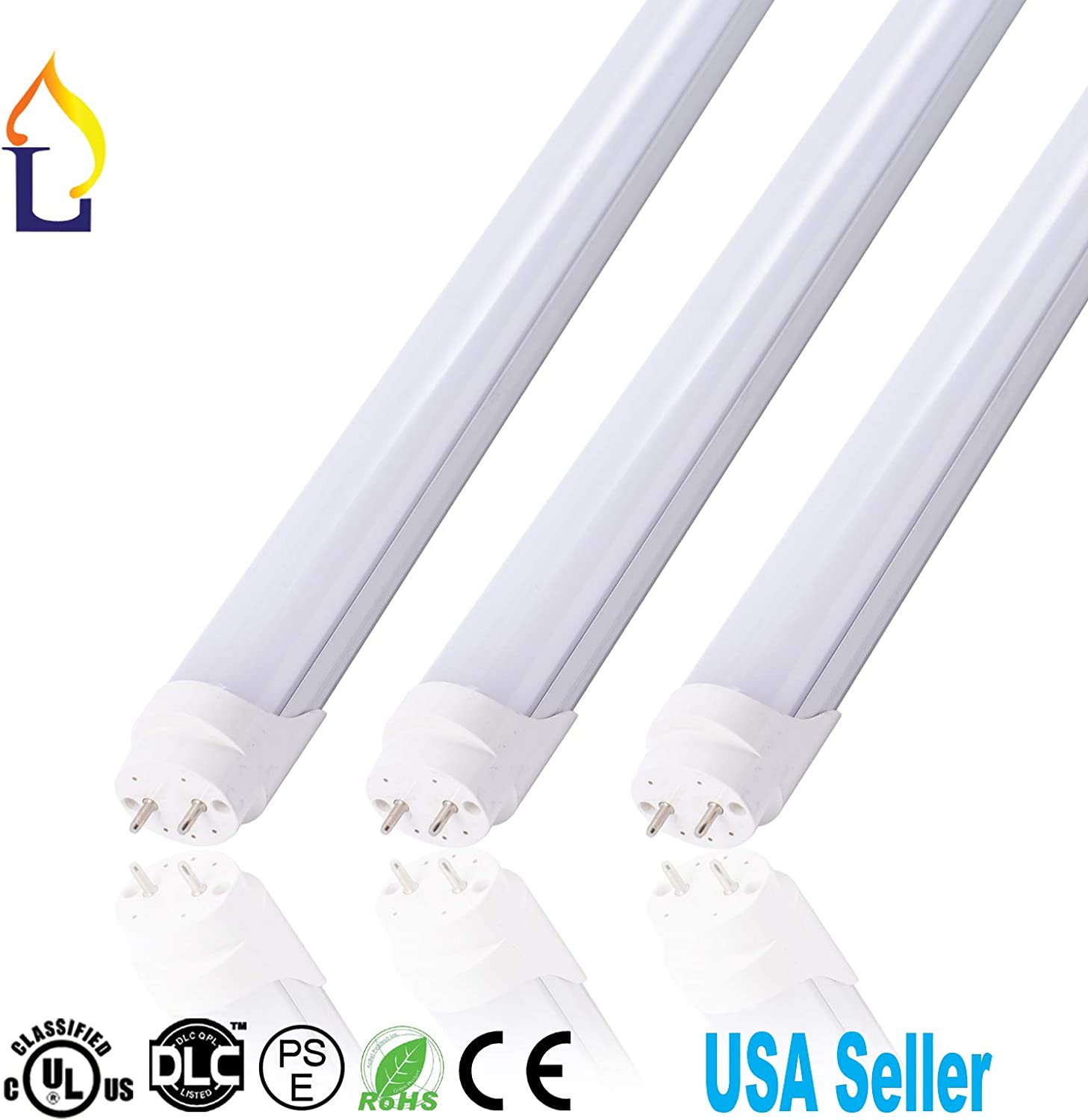 White, Milky Cover 15 Pack UL DLC Listed 4FT T8 Tube Light 18W with G13 Base Ballast Bypass Indoor 5 Years Warranty 4 Foot LED Under Cabinet Lamp