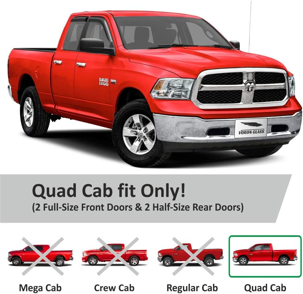 Vent Window Visors Window Deflectors 4 Pieces 120011 Voron Glass Tape-on Extra Durable Rain Guards for Trucks Dodge RAM 2009-2018 Crew Cab
